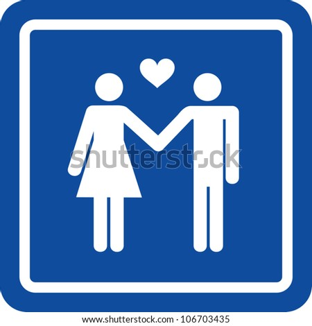 Clip art illustration styled like a universal sign showing a man and a woman holding hands with a heart icon between them indicating they are in love.