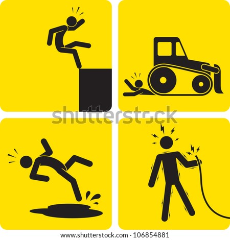Clip art illustration styled like a universal sign showing a stick figure man suffering various work-related injuries. - stock vector