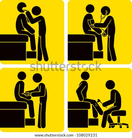 Clip art illustration styled like universal signs showing a stick figure man getting a checkup at a doctor's office. - stock vector