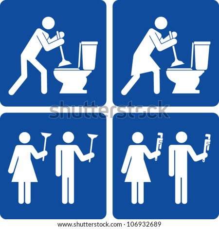 Clip art illustration styled like universal signs showing stick figure people making plumbing repairs. - stock vector