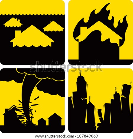 Clip art illustration styled like universal signs showing various natural disasters. Includes flood, fire, tornado, and earthquake. - stock vector