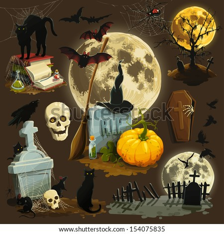 Clip art illustrations for Halloween celebration - stock vector