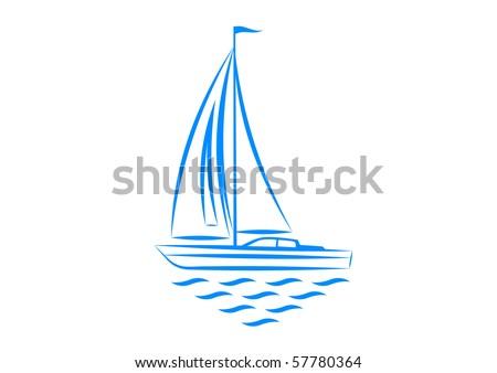 Clip-art of sailboat - stock vector