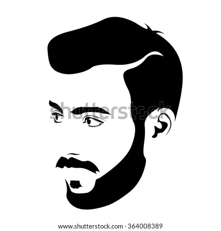 Clip art of young bearded hipster looking away. Easy editable layered vector illustration.  - stock vector