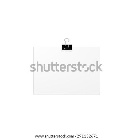 Clip clothespin and a blank sheet of paper. Vector illustration