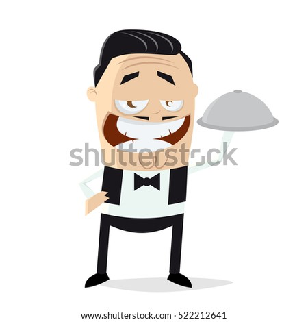 clipart of a happy waiter