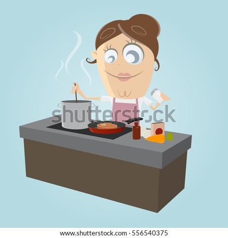 clipart of a happy woman in the kitchen preparing a delicious meal