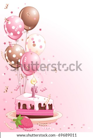 Clipart pink lustration of a Slice Of  Birthday Cake With Balloons And Confetti - stock vector