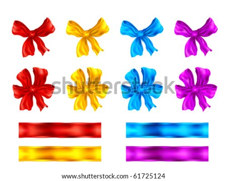 Clipart set of colorful decorative bows and ribbons