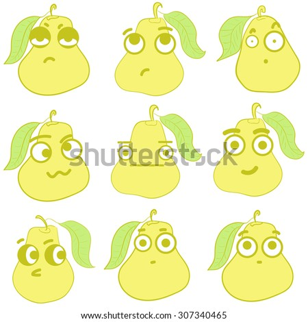 Clipart with emotional big-eyed yellow pears with leaves - stock vector