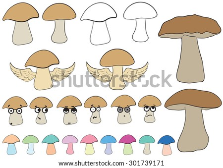 Clipart with various multi-colored big-eyed mushrooms and contours - stock vector