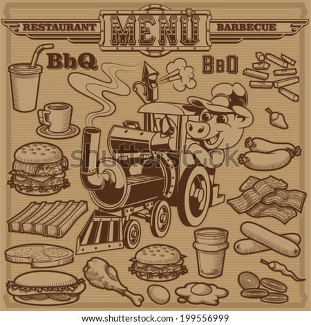 Cliparts of barbeque items and food - stock vector