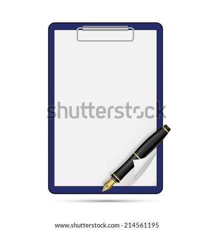 Clipboard blank sheet of paper and pen - stock vector