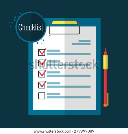 Clipboard checklist and pen  in flat style. Vector illustration. - stock vector