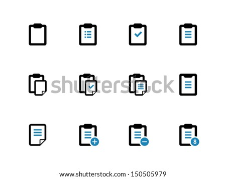 Clipboard duotone icons on white background. Vector illustration. - stock vector
