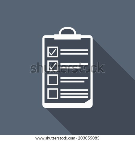 clipboard icon with long shadow - stock vector