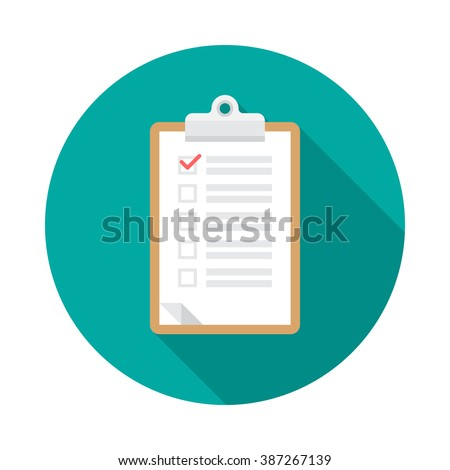 Clipboard icon with long shadow. Flat design style. Round icon. Checklist clipboard silhouette. Simple circle icon. Modern flat icon in stylish colors. Web site page and mobile app design element. - stock vector
