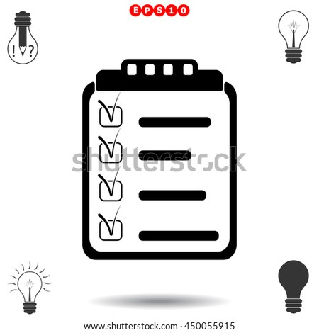 Clipboard, List icon. Black icon on white background. - stock vector