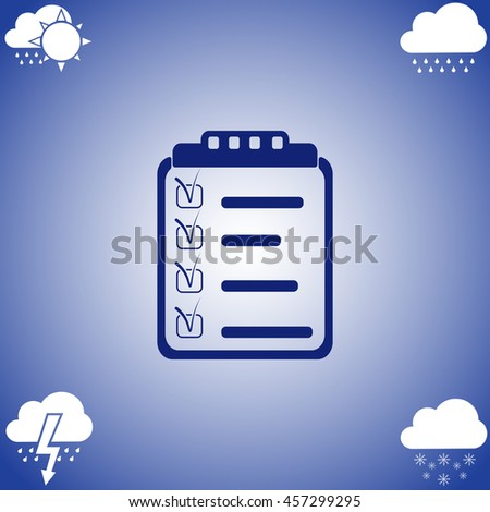 Clipboard, List icon vector. Flat icon on blue background. Simple illustration. - stock vector