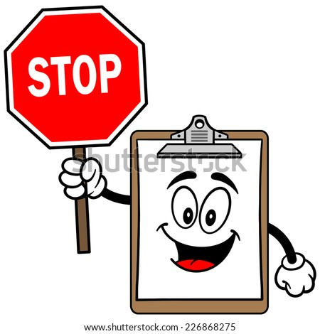 Clipboard Mascot with Stop Sign - stock vector