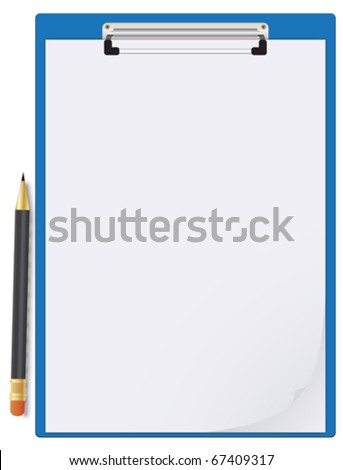 Clipboard, paper sheet and pencil - stock vector