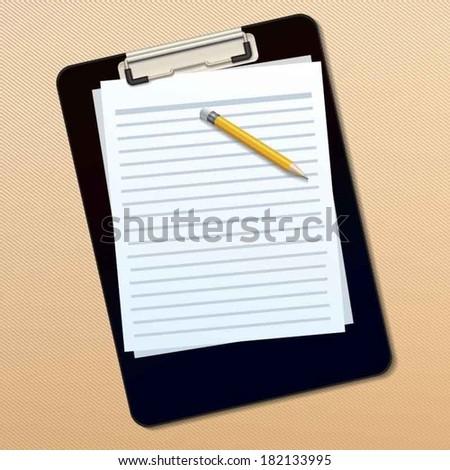Clipboard, paper sheet and pencil vector - stock vector