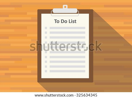 clipboard to do list paper flat vector long shadow - stock vector