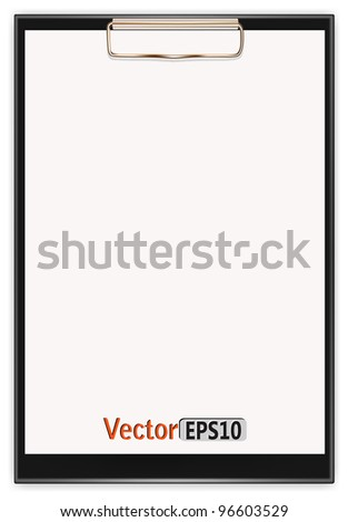 clipboard with a blank sheet of paper. vector - stock vector