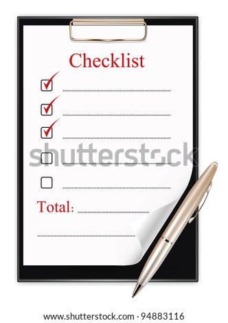 clipboard with a pen and a checklist.  vector illustration on white background - stock vector