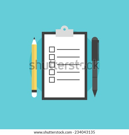Clipboard with blank checklist form, to-do list and planning project with office supplies. Flat icon modern design style vector illustration concept. - stock vector
