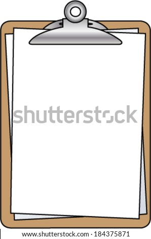 Clipboard with Blank Pages - stock vector