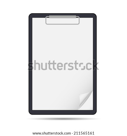 Clipboard with blank paper - stock vector