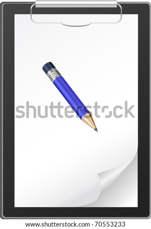 Clipboard with blank paper and blue pencil isolated on white - stock vector