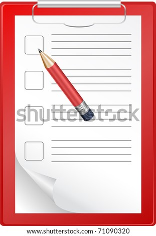 Clipboard with blank paper and pencil isolated on white - stock vector