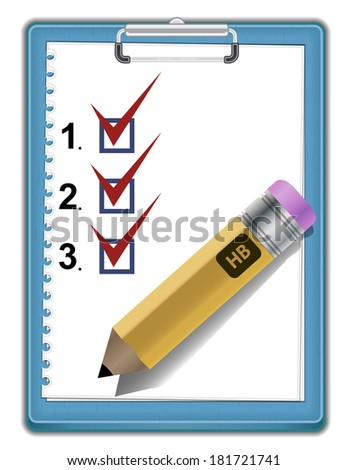 Clipboard with check list - stock vector