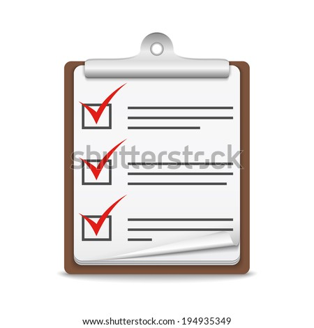 Clipboard with check list on white background, vector eps10 illustration - stock vector
