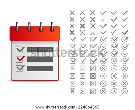 Clipboard with check list. Set of different vector check marks or ticks in boxes and circles. Vector illustration. - stock vector