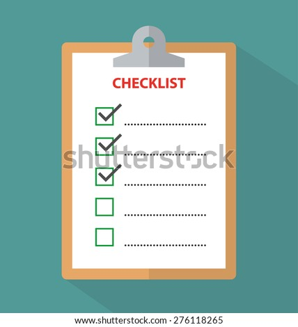 Clipboard with checklist - stock vector