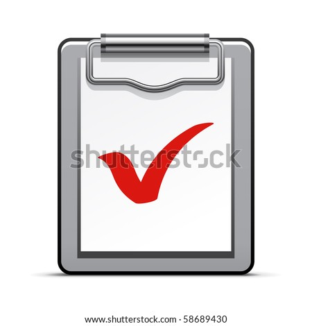 Clipboard with checkmark - stock vector