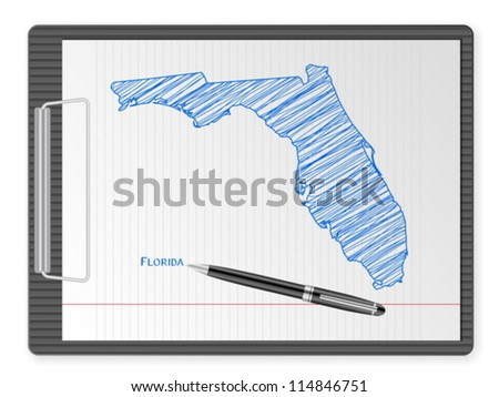 Clipboard with drawing Florida map. Vector illustration. - stock vector