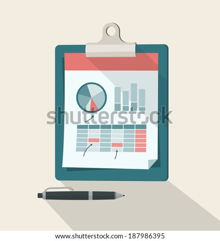 Clipboard With Financial Infographic. Clipboard, charts and graphs, background with shadow are separated and grouped in different layers - stock vector