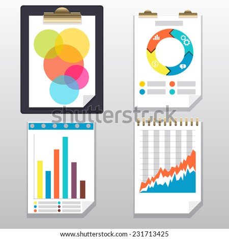 Clipboard with financial infographic icons. Clipboard, charts and graphs on paper page - stock vector