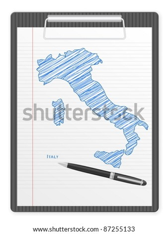 Clipboard with Italy drawing map. Vector illustration.