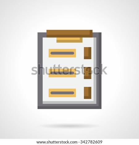 Clipboard with paper for feedback button, interview, questionnairy. Survey form. Flat color style vector icon. Elements of web design for business, website and mobile - stock vector