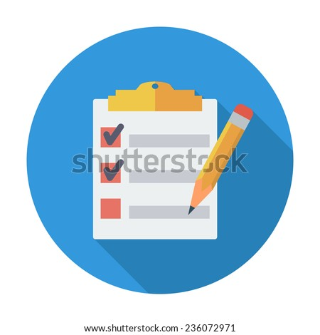 Clipboard with pen. Single flat color icon. Vector illustration. - stock vector