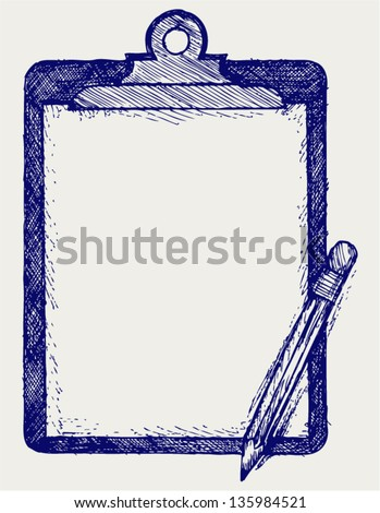Clipboard with pencil. Doodle style - stock vector