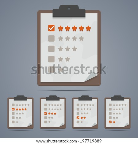 Clipboard with rating stars and checkboxes. Vector illustration in EPS10. - stock vector