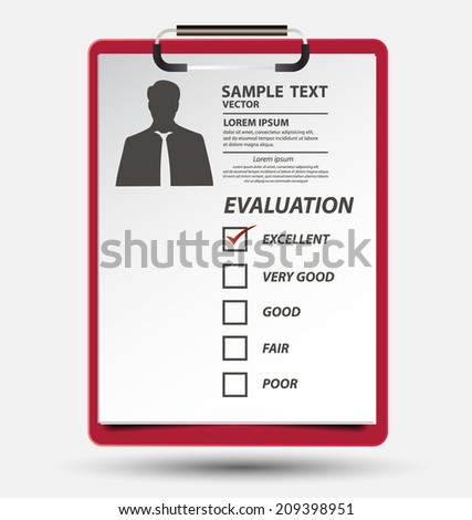 Clipboard with white paper - stock vector
