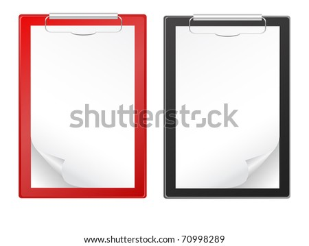 Clipboards with blank paper isolated on white - stock vector