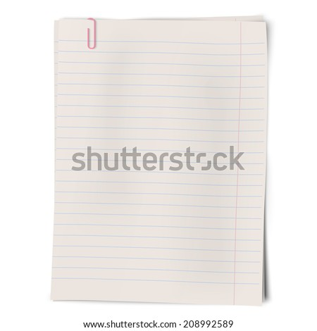 Clipped pile of lined sheets of notebook paper isolated on white background. Rosy clip. - stock vector